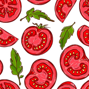Vrij kleurrijk naadloos patroon gemaakt van hand getrokken gesneden tomaat.