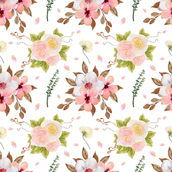 Vrij kleurrijk pastel aquarel bloemen naadloos patroon