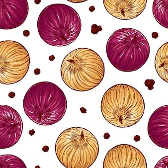 Vrij kleurrijke naadloze patroon gemaakt van hand getrokken ui.