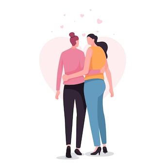 Vrij lesbisch geïllustreerd paar