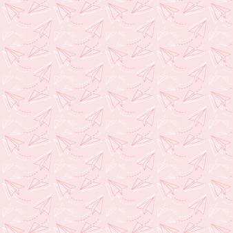 Vrij naadloos patroon van vliegende papieren vliegtuigen