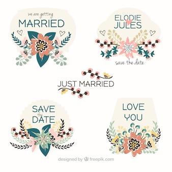 Vrij net getrouwde bloemenetiketten