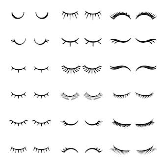 Vrij schattig schoonheid mascara gezicht make-up gesloten ogen meisje met glanzende mooie zwarte wimpers.