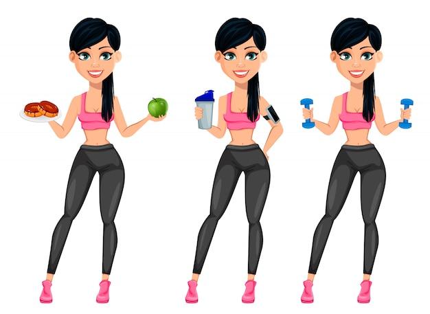 Vrij sportieve dame, aantrekkelijke fitness vrouw