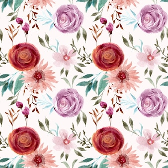 Vrij vintage bloem aquarel naadloze patroon