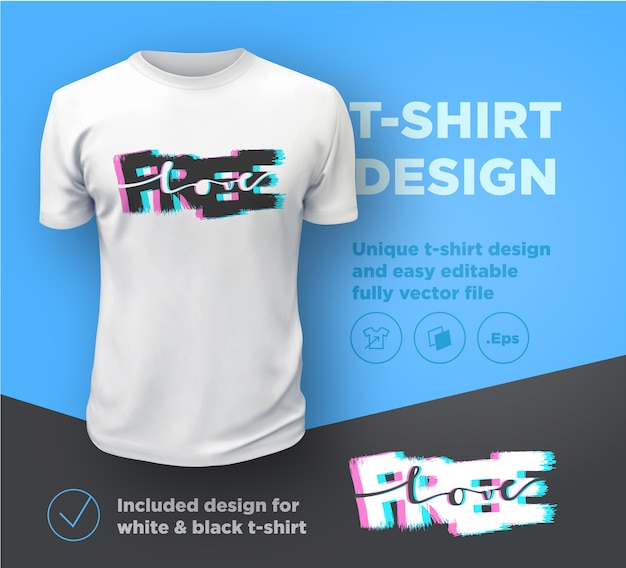 Vrije liefde. citeer typografische afdruksjabloon voor een t-shirt.