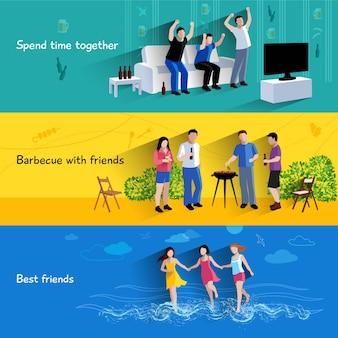 Vrije tijd doorbrengen samen barbecueën met beste vrienden 3 platte geplaatste banners