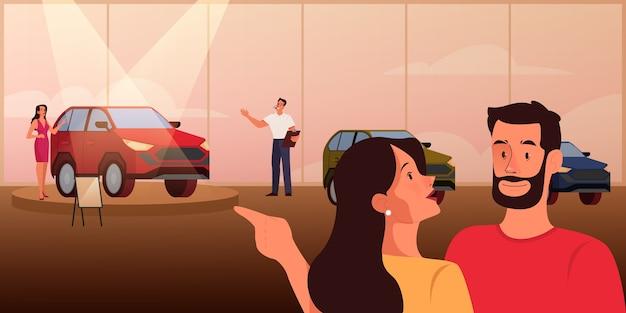 Vrije tijd en entertainment set. mensen brengen tijd door in een openbare ruimte. vrouw en man bij autopresentatie. mensen op autotentoonstelling. auto salon bezoekers en interieur.