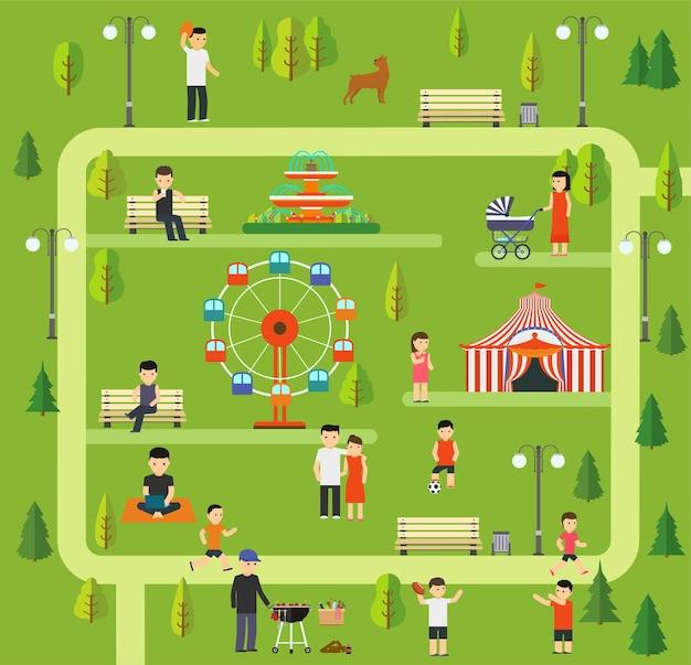 Vrije tijd in de natuur in een openbaar park.