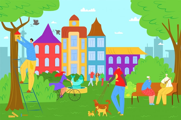 Vrije tijd in de natuur van het zomerpark, de illustratie van de mensen buitenlevensstijl. vrouw man persoon karakter op fiets, groene boom en gezonde activiteit. familie samen actief in stadspark.