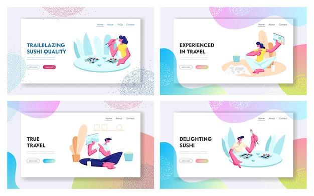 Vrije tijd, reizen, gratis vrije tijd website bestemmingspagina-set, mensen die een sushi-restaurant bezoeken, foto's van reis delen. vakantie, vrijetijdsbesteding webpagina. cartoon platte vectorillustratie Premium Vector