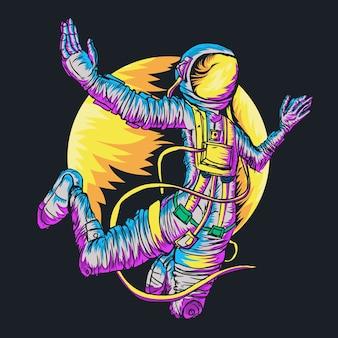 Vrije val van de astronaut in de ruimte met meteoor