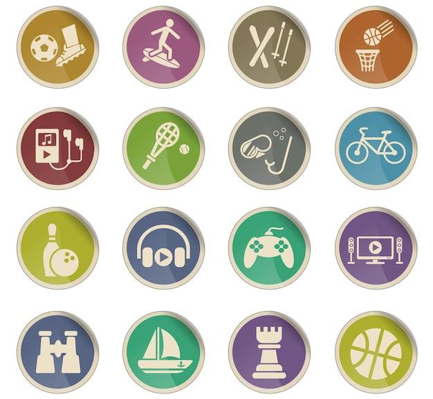 Vrijetijdswebpictogrammen in de vorm van ronde papieren etiketten