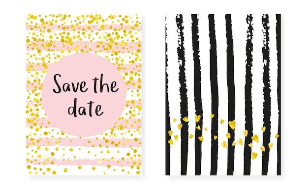 Vrijgezellenfeestkaart met stippen en pailletten. bruiloft uitnodiging set met gouden glitter confetti. verticale strepen achtergrond. hipster-vrijgezellenfeestkaart voor feest, evenement, bewaar de datum-flyer.