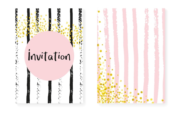 Vrijgezellenfeestkaart met stippen en pailletten. bruiloft uitnodiging set met gouden glitter confetti. verticale strepen achtergrond. retro vrijgezellenfeestkaart voor feest, evenement, bewaar de datumflyer.