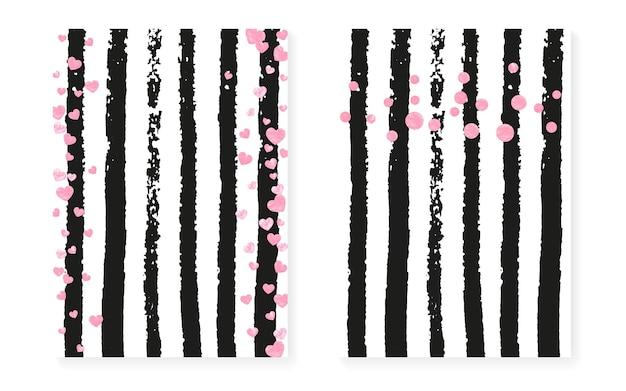Vrijgezellenfeestkaart met stippen en pailletten. bruiloft uitnodiging set met roze glitter confetti. verticale strepen achtergrond. mode bruids douche kaart voor feest, evenement, save the date flyer.