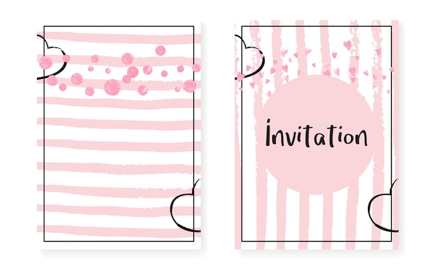Vrijgezellenfeestkaart met stippen en pailletten. bruiloft uitnodiging set met roze glitter confetti. verticale strepen achtergrond. tedere vrijgezellenfeestkaart voor feest, evenement, bewaar de datumflyer.