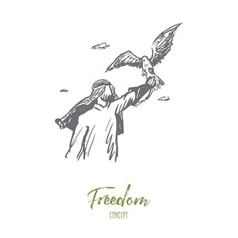 Vrijheid illustratie in de hand getekend