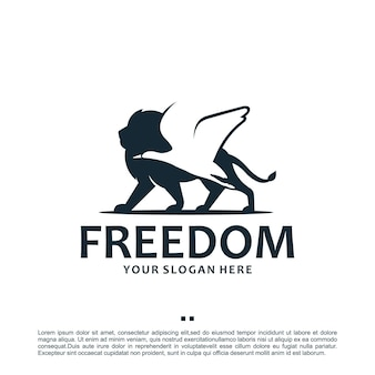 Vrijheid, leeuw, kraan, logo-ontwerpinspiratie