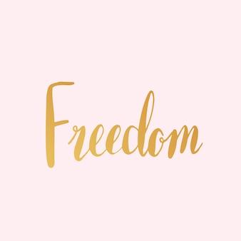 Vrijheid woord typografie stijl vector