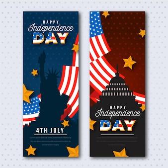 Vrijheidsbeeld en vlaggen onafhankelijkheidsdag banners