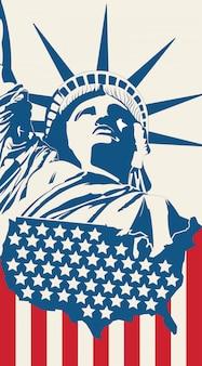 Vrijheidsbeeld op de achtergrond