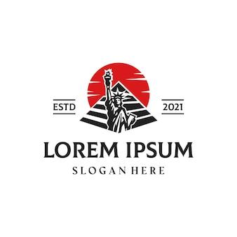 Vrijheidspiramide west oost cultuur premium logo ontwerpsjabloon