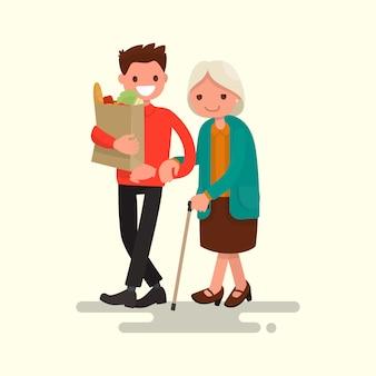 Vrijwilliger die grootmoeder helpt productenillustratie dragen