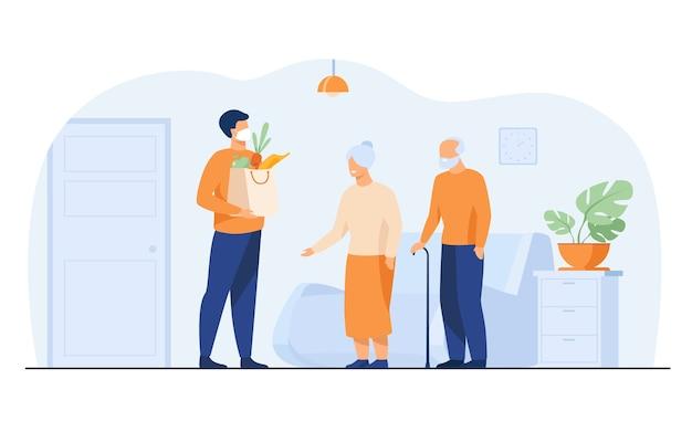 Vrijwilliger die voedselpakketten levert voor ouderen geïsoleerde platte vectorillustratie. cartoon oude mensen ontmoeten koerier in beschermend masker. bezorgservice en isolatie concept