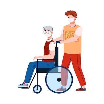 Vrijwilliger in masker met een bejaarde gehandicapte man voor een wandeling vectorbeelden