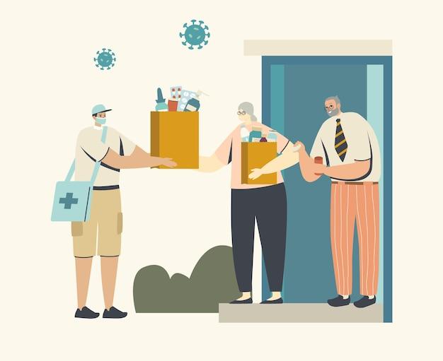 Vrijwilliger of koerier mannelijk personage in medisch gezichtsmasker bezorgt medicijnen aan het huis van senioren