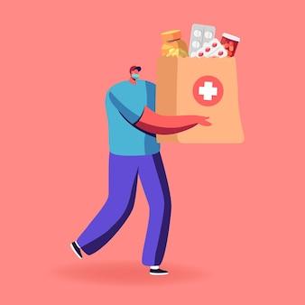 Vrijwilliger of koerier mannelijk personage met medisch gezichtsmasker bezorgt medicijnen in zak aan klanten thuis