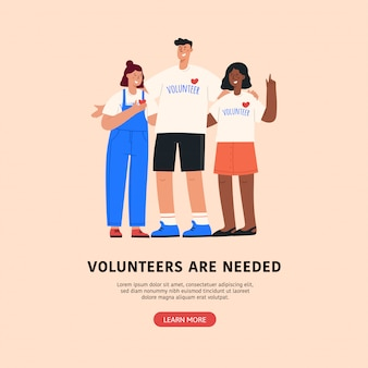 Vrijwilliger platte vectorillustratie.