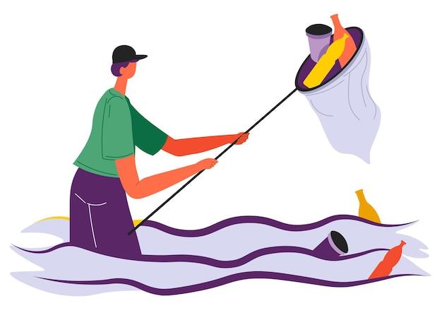 Vrijwilliger reinigen van oceaan- of zeewater van afval, ecologische zorg voor het milieu en de planeet. zwerfvuil en afval verzamelen aan de kust. vrijwilligerswerkman, activist die zorgt voor de natuurvector in flat