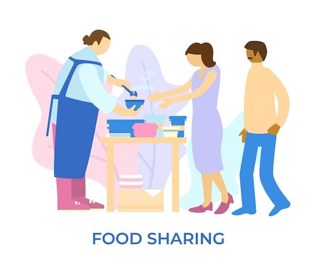 Vrijwilliger schenkt de soep aan behoeftige mensen voedseldonatieproces
