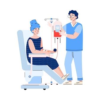 Vrijwilliger vrouw doneert bloed en verpleegster cartoon afbeelding Premium Vector