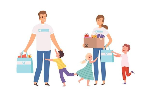 Vrijwilligers bezoeken weeshuis. gelukkige wezen, man vrouw met donaties en cadeautjes. kinderen lopen knuffelen mannelijke en vrouwelijke karakters vectorillustratie. sociale liefdadigheid en ondersteuning, help weeskind
