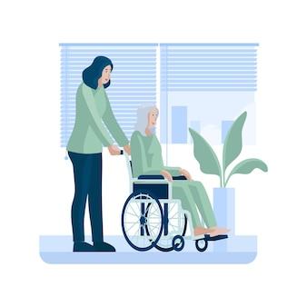 Vrijwilligers die bejaarde mensenillustratie helpen