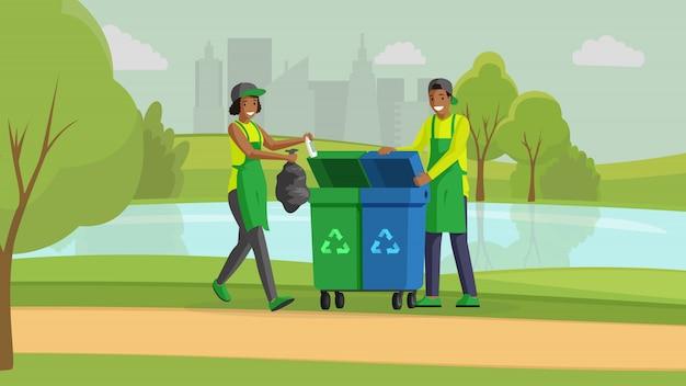 Vrijwilligers die de illustratie van de park vlakke kleur schoonmaken. milieubescherming, vermindering van natuurvervuiling, afvalbeheer. mensen die vuilnis in vuilnisbakken buiten zetten, activisten stripfiguren