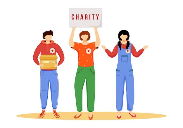 Vrijwilligers die giftenillustratie verzamelen. slefless sociale activisten stripfiguren op witte achtergrond. openbare fondsenwervingscampagne. liefdadigheid, filantropie concept