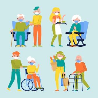 Vrijwilligers die oudere mensen helpen