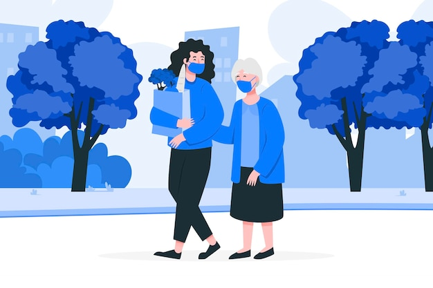 Vrijwilligers die ouderen helpen