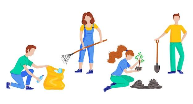 Vrijwilligers die plastic afval schoonmaken, bomen planten in het stadspark. platte vectorillustratie met mensen die zwerfvuil opruimen buiten de natuur schoonmaken. altruïstische activiteit, milieubescherming