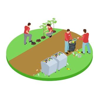 Vrijwilligers halen het afval in het park en planten bomen isometrisch concept
