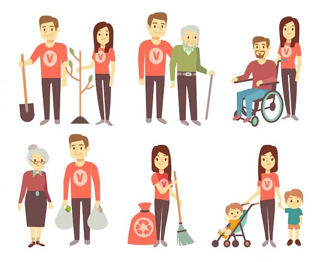 Vrijwilligers helpen gehandicapten vector-tekens instellen voor vrijwilligerswerk concept