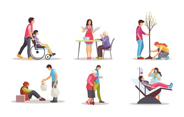 Vrijwilligers helpen mensen met een handicap, gepensioneerden, helpen daklozen.
