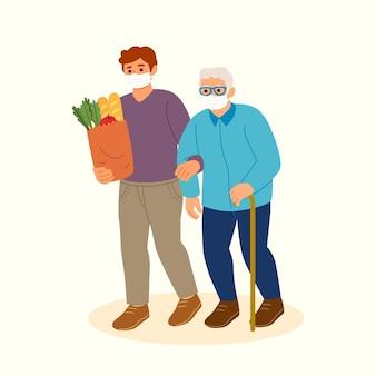 Vrijwilligers helpen oudere mensen