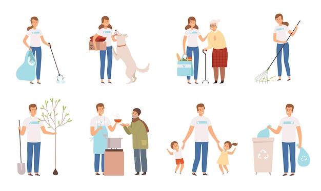 Vrijwilligers karakters. mensen maatschappelijk werk en donatiezorg weersbescherming van gehandicapten oude man.