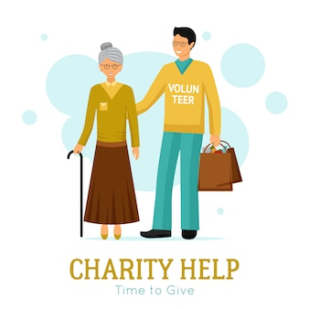 Vrijwilligers liefdadigheid hulporganisatie vlakke poster