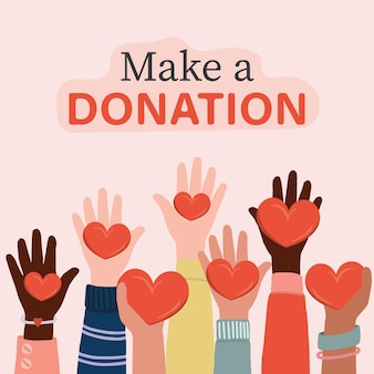 Vrijwilligers, maatschappelijk werkers die harten in de handpalmen houden. kinderen en internationale mensen die handen opsteken.